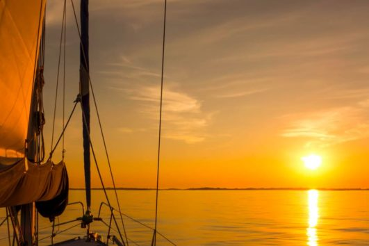 Sunset from sailboat